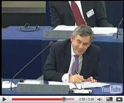 Gordon Brown smirking at Daniel Hannan MEP