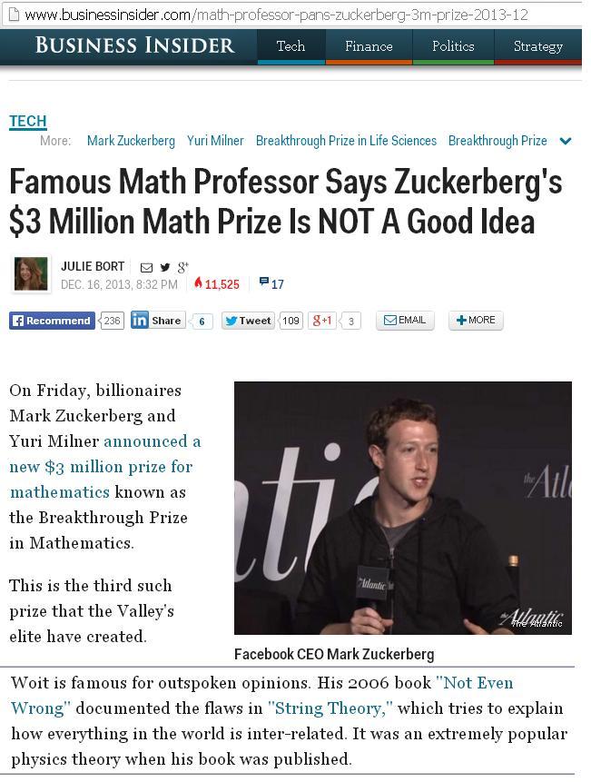 Woit deemed famous for criticizing Zuckerberg prize